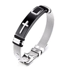 JRUI Jewelry Stainless Steel Bracelet for Mens Boys Religious Cross Bangle Wire Braided Hand Wristband Size Adjustable Mesh Bracelet, Silver Bangle Bracelets, Gold Bangles, Bracelets For Men, Fashion Bracelets, Bracelet Men, Cross Bracelets, Charm Bracelets, Jewellery Bracelets