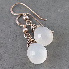 White moonstone earrings, handmade sterling silver earrings