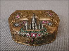 Box Made Of Gold, Emeralds and Diamonds, Made By F.S.C. (or G) - Paris, France…