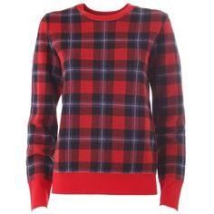 EQUIPMENT Shane check plaid pull ($385) ❤ liked on Polyvore featuring tops, sweaters, red, crew neck sweaters, long sleeve tops, red sweater, wool crew neck sweater and red top