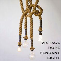 Vintage Edison Rope Pendant Light Chandelier E27 Nautical Cafe Restaurant
