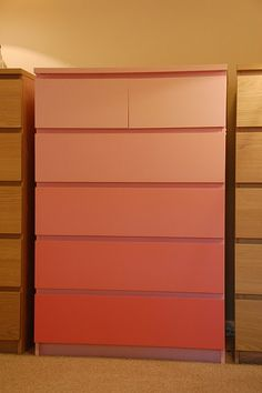 Ikea chest-of-drawers painted in shades of one colour. Start with pure colour at the bottom and add a bit of white for each drawer to make it lighter.