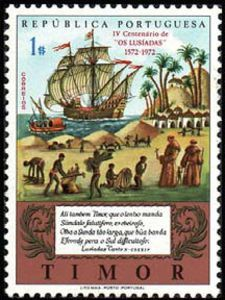 """Stamp: Epos """"Os Lusiadas"""" (Timor) Anniversary of the Camoens) Mi:TL 357 Old Stamps, Vintage Stamps, Asian History, Timor Leste, My Stamp, Mail Art, Stamp Collecting, Southeast Asia, Portugal"""