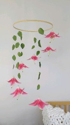 This large mobile is perfect for a jungle themed Nursery. It features large pink and white lilies wi Floral Room, Floral Nursery, Boho Nursery, Girl Nursery, Girl Room, Room Themes, Nursery Themes, Nursery Decor, Jungle Theme Nursery