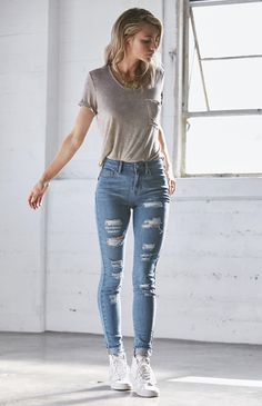 Hooked on Tally Blue Ripped High Rise Skinny Jeans that I found on the PacSun App