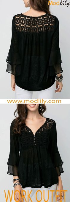 Lace Panel Flare Sleeve Black Blouse On Sale At Modlily. Mom Outfits, Stylish Outfits, Blouse Styles, Blouse Designs, Lace Tops, Chiffon Tops, Modest Dresses, Casual Dresses, Trendy Tops For Women