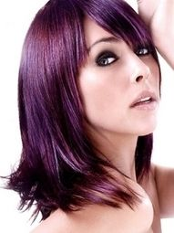 purple hair color with red green and blue highlights, suttle but elegant