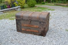 Vintage Wooden Trunk Brown Rustic Metal and Wood by PanchosPorch