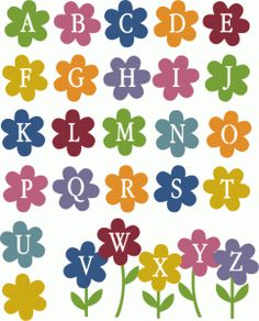 Silhouette Design Store - View Design #57326: flower garden alphabet - uppercase