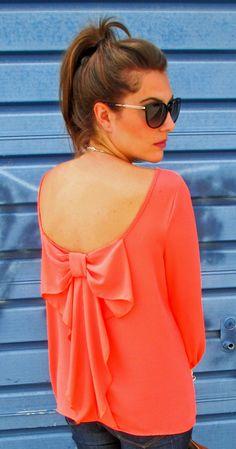 Bow shirt- basicallybere #coral #bowshirt