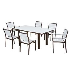Outdoor Patio 7-Piece White Dining Chair and Table Set - Bronze Frame