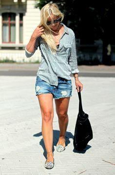 shirt + denim shorts