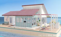 Pink Houseboat • 15x10 barge • $33,682 • 2 bd/2 ba This lot may use items from World Adventures, Ambitions, Late Night, Generations, Pets, Supernatural, Seasons, University Life and Island Paradise....