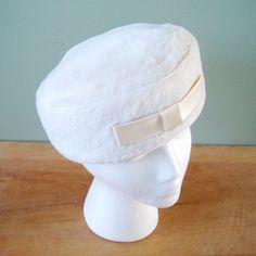 Vintage White Faux Fur Winter Hat, 1960s White Fur Pillbox Hat with Cream Satin Bow