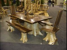 What to do with old tree trunks, table, chairs and benches.  Looks like a lot of work to me.