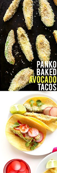 CRISPY, creamy 30-minute panko Baked Avocado Tacos! Perfect for jazzing up taco night. #vegan