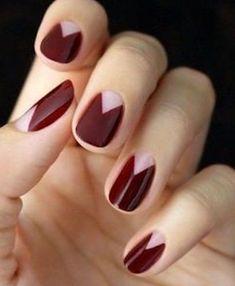 18 Πρωτότυπες ιδέες για σχέδια στα νύχια τον χειμώνα!   ediva.gr Elegant Nail Art, Trendy Nail Art, Elegant Chic, Burgundy Nails, Red Nails, Acurlic Nails, Red Burgundy, Maroon Nails, Polish Nails