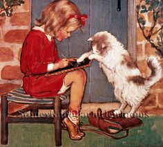 Little Girl Playing with Her Cat ~ Children ~ Counted Cross Stitch Pattern #StoneyKnobFarmHeirlooms #CountedCrossStitch