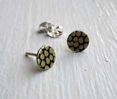 Flat Textured Brass Circle Stud Earrings with sterling silver post and ear nut, pebble texture studs 0002