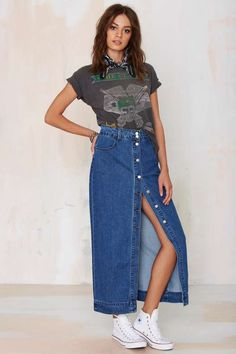 Glamorous Of One Mind Denim Maxi Skirt