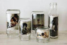 Fotos in alten Flaschen und Vorratsgläsern. Alternative zum Bilderrahmen.