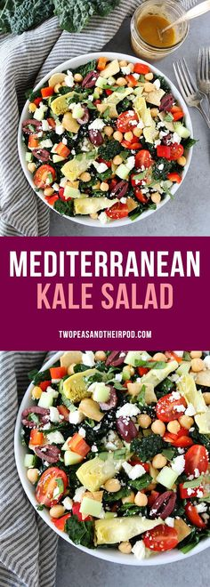Mediterranean Kale Salad with Hummus Dressing is great for lunch or dinner. It is loaded with tomatoes, cucumbers, artichokes, olives, chickpeas, feta cheese, pita chips and the creamy hummus dressing is amazing!