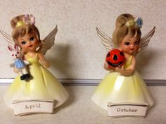 Vintage Nanco Sister angels April and October figurine in yellow