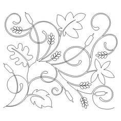 Cat tails and Leaves quilting pantograph x Machine Quilting Patterns, Longarm Quilting, Free Motion Quilting, Quilt Patterns, Border Embroidery Designs, Floral Embroidery Patterns, Cross Stitch Embroidery, Zardozi Embroidery, Flower Wall Design