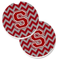 Letter S Chevron Maroon and White Set of 2 Cup Holder Car Coasters CJ1049-SCARC