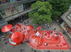 red planet, an unconventional playground by in a shopping center in shanghailocated in one of the biggest shopping centers in shanghai, the installation is an unusual playground with organized spaces for both kids and adults. The post red pla Playground Design, Outdoor Playground, Children Playground, Shanghai, Villa Architecture, Architecture Diagrams, Architecture Portfolio, Open Space Architecture, Public Architecture