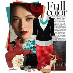 Red polka dot skirt, turquoise necklace, black cardigan. Full Color - Polyvore