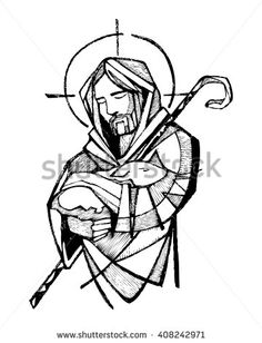 Hand drawn vector illustration or drawing of Jesus Christ as Good Shepherd