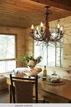 Paint an old brass chandelier and wrap with twigs- Rustic Beauty