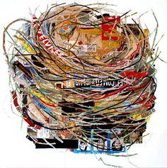 Santa Fe Artist Kate Rivers exhibits Collage and Mixed Media Art at Matthews Gallery on Canyon Road. Paper Collage Art, Collage Art Mixed Media, Mixed Media Artists, Paper Art, Collages, Nest Design, Mountain Art, Bird Illustration, Assemblage Art