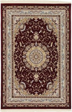 Red 6' 7 x 9' 7 Isfahan Design Rug | Area Rugs | iRugs UK