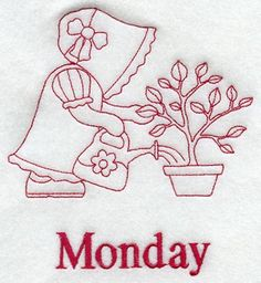 Sunbonnet Sue on Monday (Redwork) design (C3401) from www.Emblibrary.com
