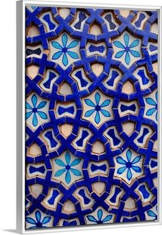 "Revitalize your walls with with Blue Mosaic artwork. Martin Gray's ""Tile from the Mausoleum of Shah Rukn-e-Alam"" Canvas Print featured in a White Floating Frame. Check it out at GreatBIGCanvas.com."
