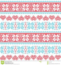 Winter, Christmas seamless pixelated pattern with snowflakes and hearts