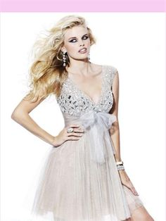 V-Neck Crystal Tulle 2013 Short Prom Dress APR230017