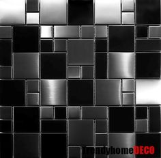 SAMPLE- Unique Black Stainless Steel Pattern Mosaic Tile Kitchen Backsplash Bath in Home & Garden, Home Improvement, Building & Hardware Kitchen Wall Art, Kitchen Flooring, New Kitchen, Kitchen Ideas, Kitchen Reno, Kitchen Remodeling, Kitchen Stuff, Kitchen Cabinets, Door Design
