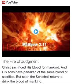 The Fire of Judgment from Signs, Science and Symbols of the Prophecy http://www.andrewtheprophet.com/11001/20385.html