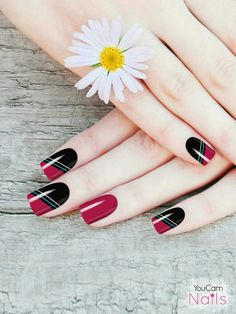 Create your own nail art with YouCam Nails! Get it now > iOS / Android Super Cute Nails, Pretty Nails, Red Nails, Hair And Nails, Matte Nails, Nail Color Combinations, Nail Art Stencils, Ios, Nails Today