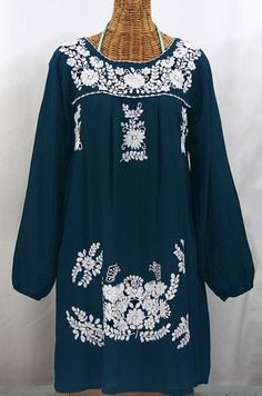 """La Mariposa"" Embroidered Mexican Dress - Navy Blue"