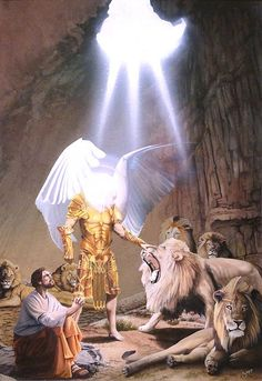 """""""Daniel in the Lions Den"""" watercolor painting by artist Greg Gopp. """"My God hath sent his angel, and hath shut the lions' mouths, that they have not hurt me. Images Bible, Scripture Pictures, Art Prophétique, Image Jesus, Pictures Of Jesus Christ, Bible Illustrations, Jesus Art, Prophetic Art, Biblical Art"""
