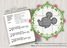 Little room in the attic by Maria Demina: Mickey Mouse silhouette free cross stitch chart / pattern
