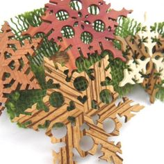 $30.00  Ornaments Wooden Snowflakes Decorations Christmas Yule Hanukkah WInter Holidays
