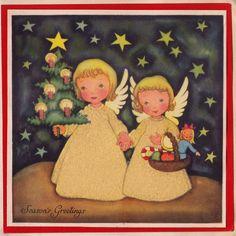 1940s vintage Christmas card angels