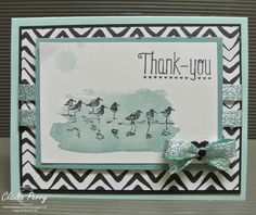So pretty! by Claudia: Wetlands, Perpetual Calendar, Another Thank You, Go Wild dsp stack, Pool Party Glitter ribbon - all from Stampin' Up! PLUS a fork/spatula bow-tying video. Fork Bow, Glitter Ribbon, Stamping Up, Bows, Crafty, Columbus Ga, Cards, Perpetual Calendar, Nautical
