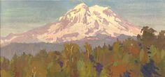 Mt Rainier late summer 6x12 gouache on watercolor block