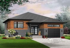 Discover the plan - Urbania from the Drummond House Plans house collection. Small modern house plan with garage, 2 bedrooms, ceiling, pantry, laundry on main floor. Total living area of 1339 sqft. Small Modern House Plans, Rustic House Plans, Lake House Plans, Garage House Plans, House Plans One Story, Bungalow House Plans, Country Style House Plans, Story House, House Floor Plans